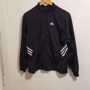 Adidas Black Three White Stripe Track Jacket Size Large